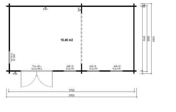 Pihamökki Liam 16m² / 6 x 3 m / 44mm