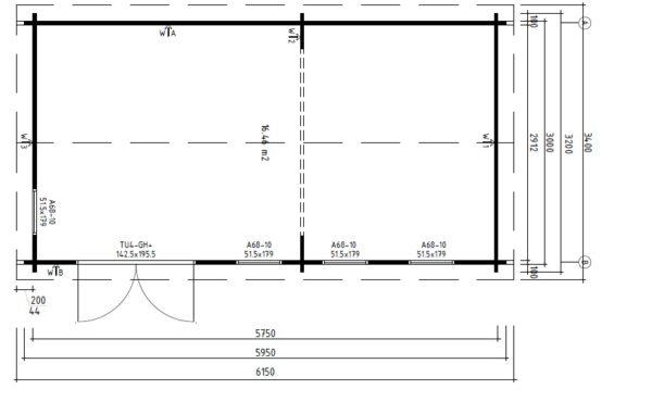 Pihamökki Linda 16m² / 3 x 6 m / 44mm