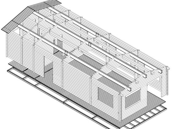 Hirsi-luokkahuone 60m² / 5 x 12 m / 70mm