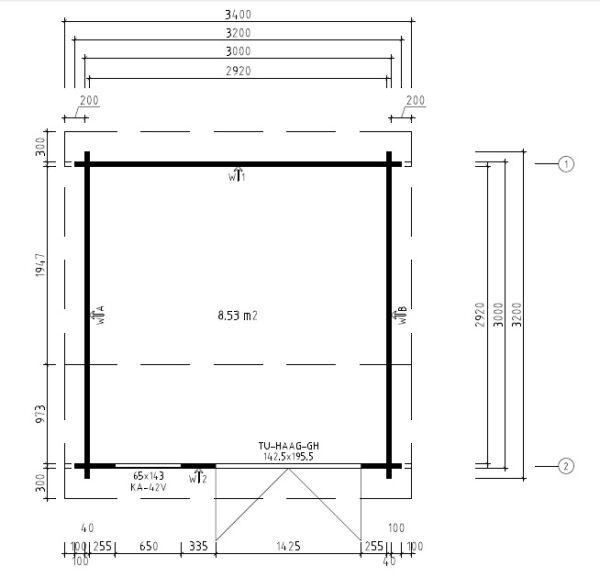 Vierasmaja Lucas D 8,5m² / 3,2 x 3,2 m / 40mm