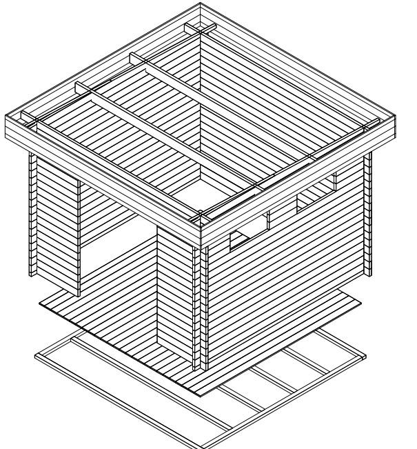 Pihavarasto Lucas F 8,5m² / 3,2 x 3,2 m / 40mm