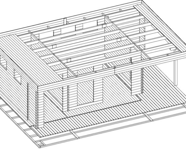Vierasmaja Hansa Lounge XXL + Varasto 22m² / 8 x 5 m / 44mm