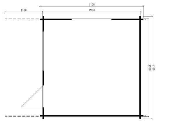 Vierasmaja Marcus A 14,5m² / 4,1 x 4,1 m / 50mm