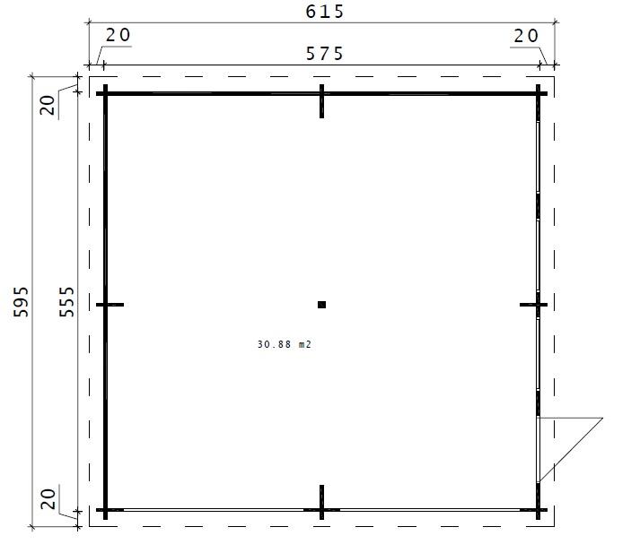 Autotalli F kahdelle autolle, tuplaovilla 31m² / 5,7 x 5,7 m / 44mm