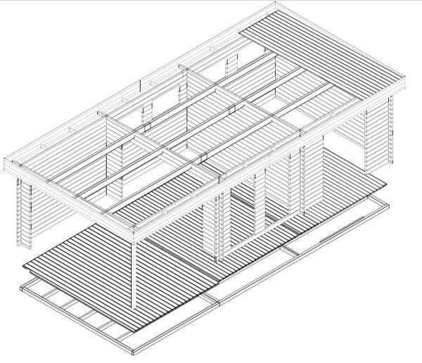Vierasmaja + Varasto Rio 22m² / 9 x 4 m / 50mm