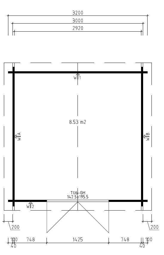 Pihavarasto Nora A 8,5m² / 3,2 x 3,2 m / 40mm