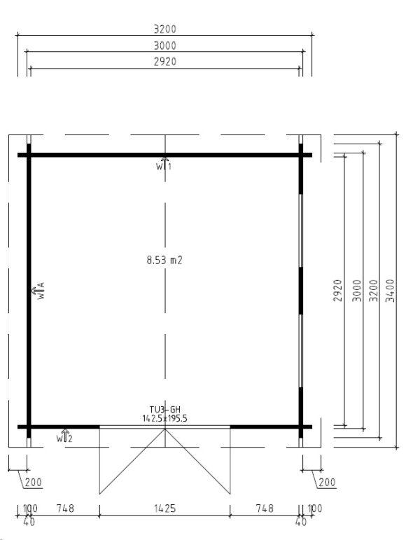 Vierasmaja Nora B 8,5m² / 3,2 x 3,2 m / 40mm