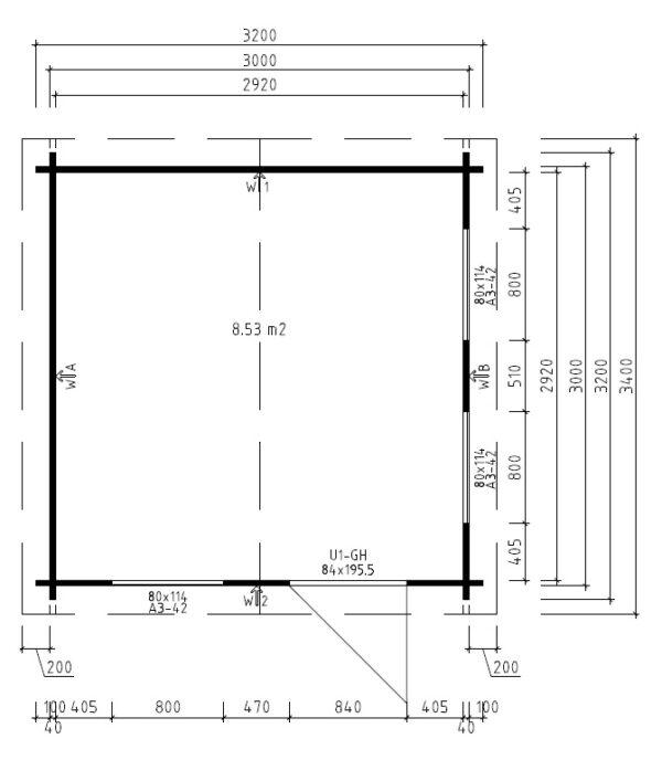 Vierasmaja Nora C 8,5m² / 3,2 x 3,2 m / 40mm