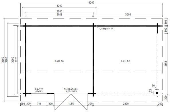 Vierasmaja Nora D + Terassi 8,5m² / 3,2 x 3,2 m / 44mm