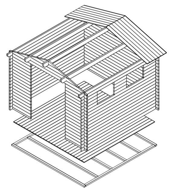 Pihavarasto Nora F 8,5m² / 3,2 x 3,2 m / 40mm
