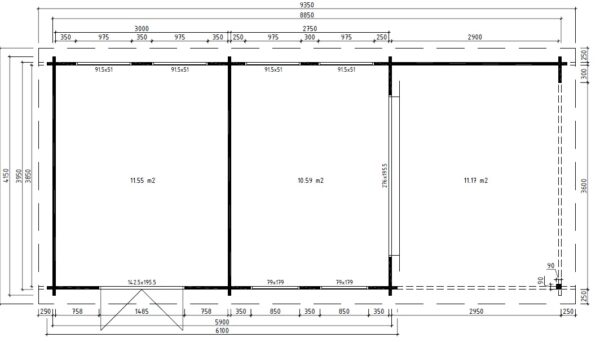 Vierasmaja + Varasto Robin 22m² / 9 x 4,1 m / 50mm