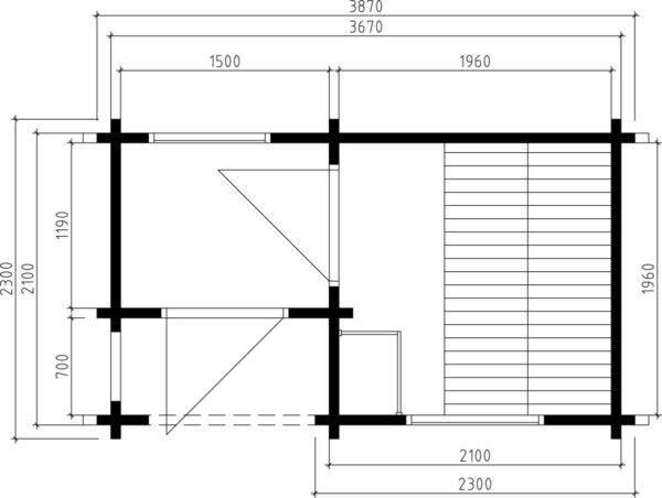 Pihasauna Lisette 7m² / 2,3 x 3,9 m / 70mm