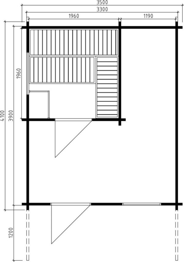 Pihasauna Oslo 12,5m² / 3,5 x 4,1 m / 50mm