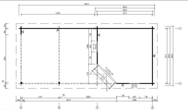 Vierasmaja Sophia 10m² / 8 x 3,5 m / 44mm