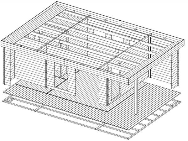 Vierasmaja Hansa Lounge XXL + Sauna 22m² / 8 x 5 m / 70mm