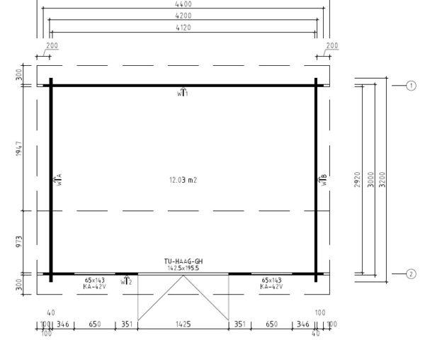 Vierasmaja Eva D 12m² / 3,2 x 4,4 m / 40mm