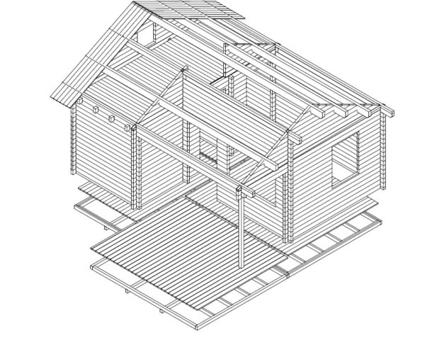 Kesämökki London 26,4m² / 6 x 5 m / 70mm