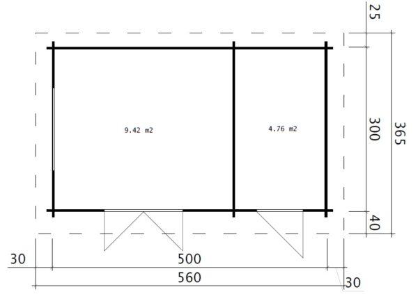 Pihamökki + Varasto Super Tom 15m² / 44mm / 5 x 3 m