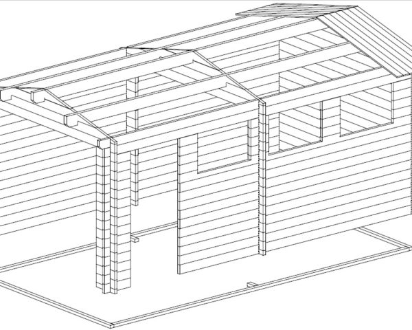Autotalli A tuplaovilla 16m² / 3 x 5,5 m / 44mm