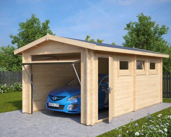 Autotalli A ylöspäin aukeavalla ovella 16m² / 3 x 5,5 m / 44mm