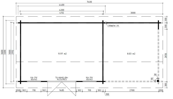 Vierasmaja Jacob D + Terassi 12m² / 4,2 x 3 m / 40mm