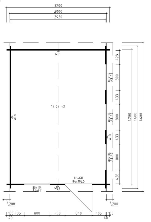 Vierasmaja Eva C 12m² / 3,2 x 4,4 m / 40mm