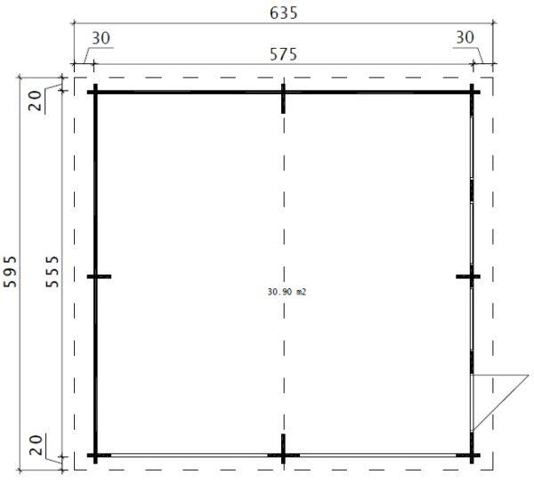 Autotalli E kahdelle autolle, ylöspäin aukeavalla ovella 31m² / 5,5 x 5,7 m / 44mm