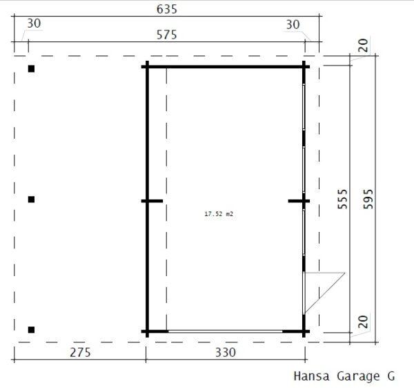 Autotalli + Autokatos G tuplaovilla 31m² / 5,7 x 5,5 m / 44mm