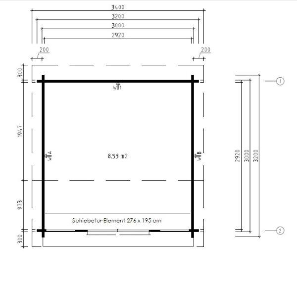 Vierasmaja Nora E 8,5m² / 3,2 x 3,2 m / 44mm