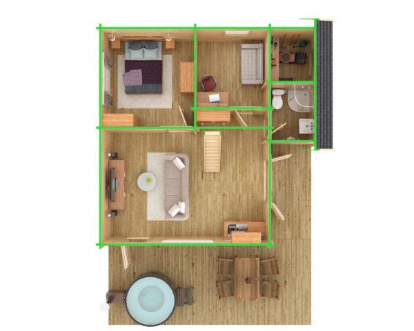 Kesämökki Dallas 42,5m² / 7,3 x 7,2 m / 70mm