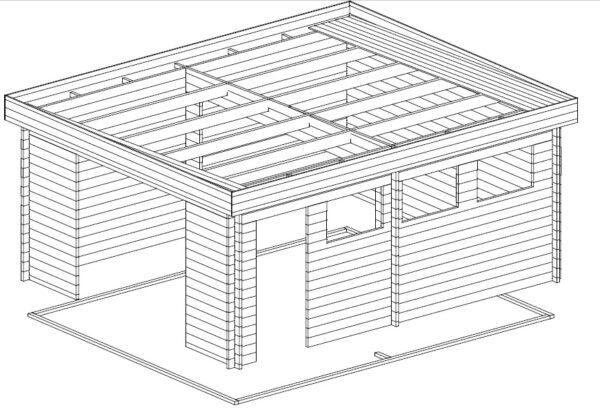 Suuri autotalli D ylöspäin aukeavalla ovella 24m² / 4,5 x 5,5 m / 44mm