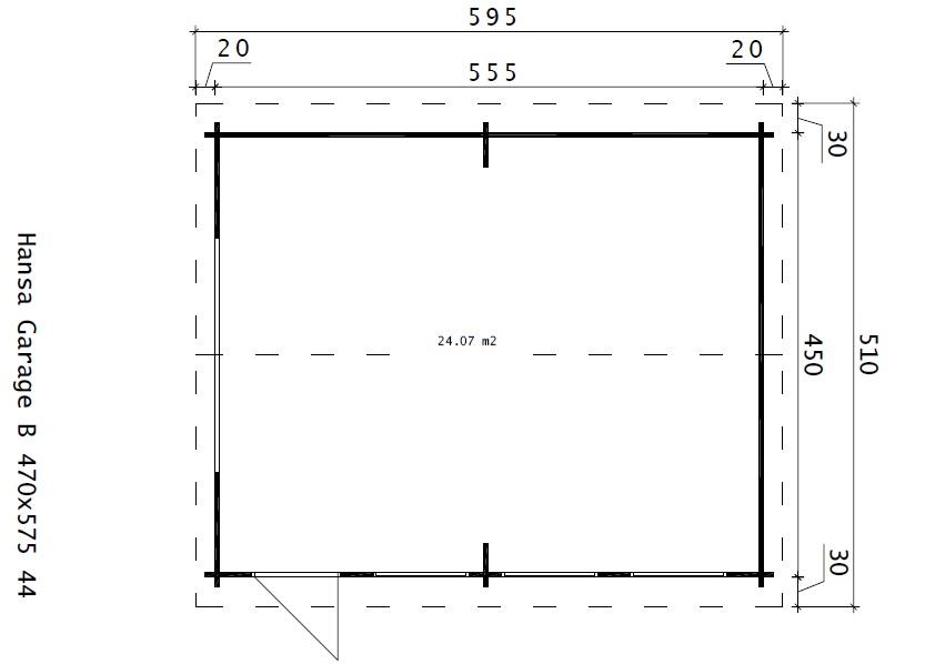 Suuri autotalli B tuplaovilla 24m² / 4,5 x 5,5 m / 44mm