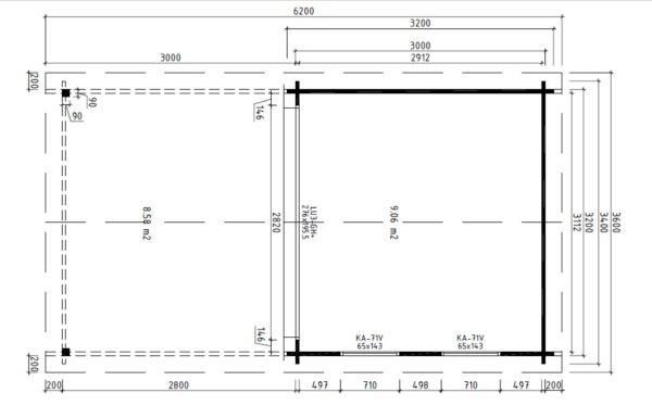 Vierasmaja Lucas E + Terassikatos 9m² / 3,2 x 3,4 m / 44mm