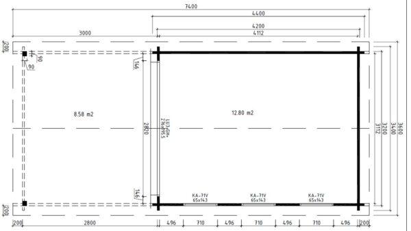 Vierasmaja Jacob E + Terassikatos 12m² / 4,2 x 3,4 m / 44mm