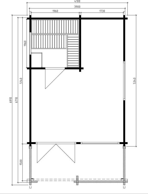 Pihasauna Mika 19m² / 4,1 x 6,9 m / 70mm
