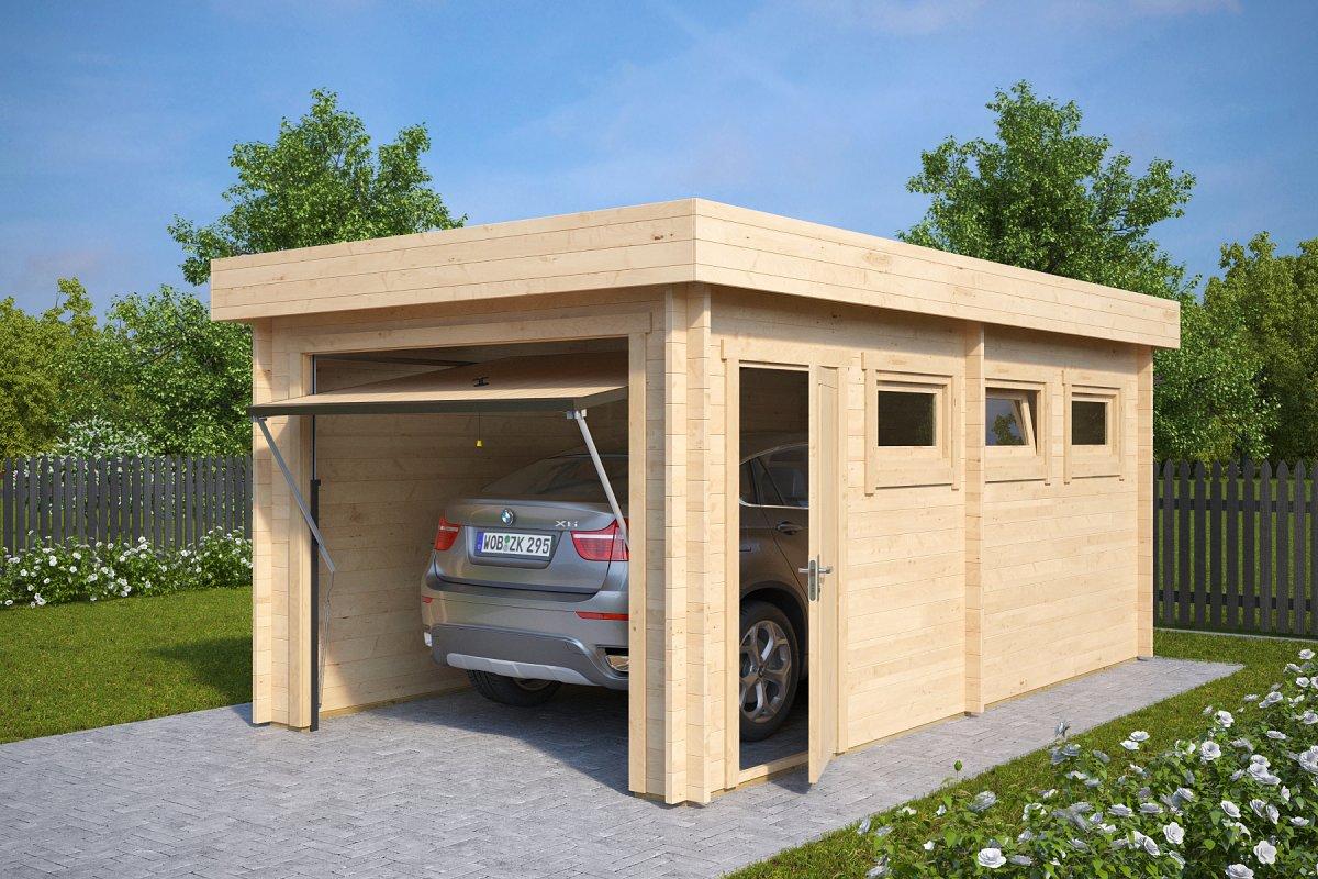 Autotalli C ylöspäin aukeavalla ovella 16m² / 3 x 5,5 m / 44mm