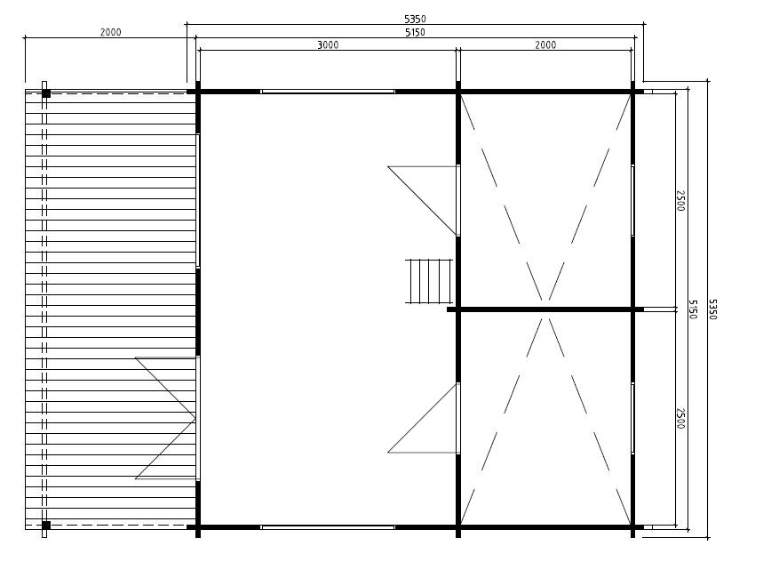 Kesämökki Stockholm 25,5m² / 5,3 x 5,3 m / 50mm