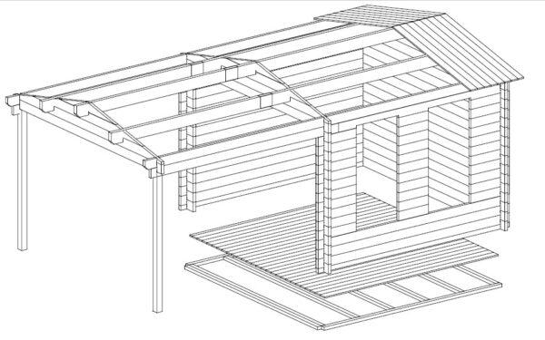 Vierasmaja Nora E + Terassikatos 9m² / 3,4 x 3,2 m / 44mm