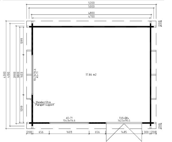Vierasmaja Ian A 18m² / 5 x 4,1 m / 50mm