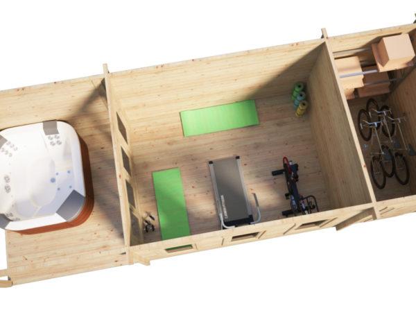 Pihamökki Jacob E + Terassi + Varasto 18m² / 3 x 9 m / 44mm