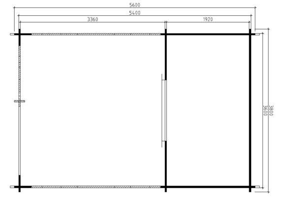 Vierasmaja Vera 7m² / 3,8 x 5,6 m / 44mm