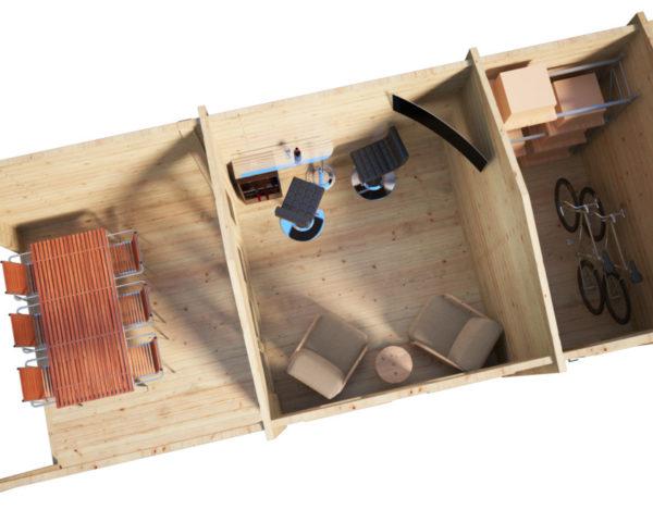 Vierasmaja Nora E + Terassi + Varasto 15m² / 3 x 8 m / 44mm
