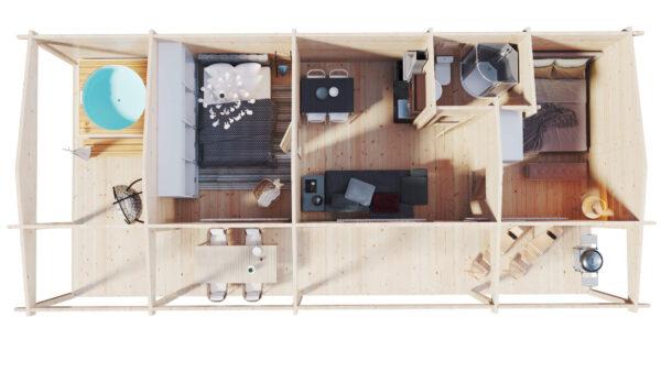 Kahden makuuhuoneen hirsimökki suurella terassilla Edward 37m2 / 6 x 13 m / 70mm