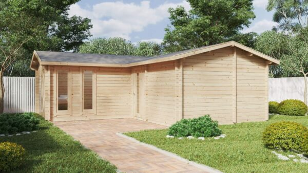 Suuri puutarhahirsimökki saunalla. Devon-3/40 m2 / 70mm