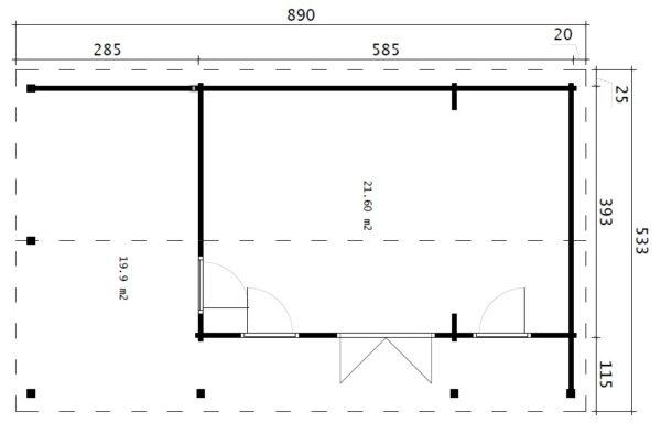 Pihamökki verannalla Hansa Studio XXL 21 m2 / 5 x 9 m / 70 mm
