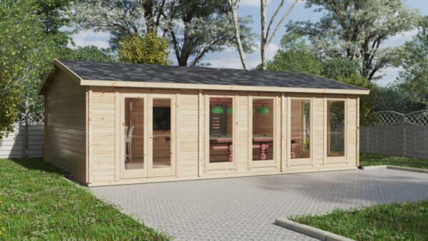 Iso puutarhan Snooker huone XL II / 8 x 5,5 m / 43 m2 / 70 mm hirsi