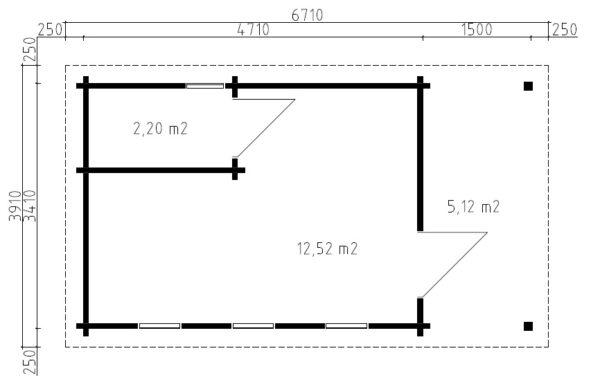 Vierasaitta Martin I kylpyhuoneella ja wc:llä / 6 x 3,3 m / 15 m2 / 70mm