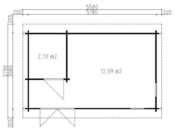 Vierasmaja Mia 1 kylpy- varastohuoneella / 5x3 m / 15 m2 / 44mm hirsi