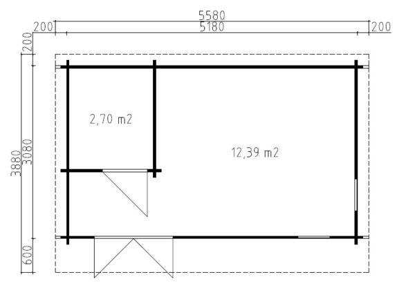 Vierasmökki Mia 2 kylpyhuoneella / 5x3 m / 15m² / 44 mm hirsi