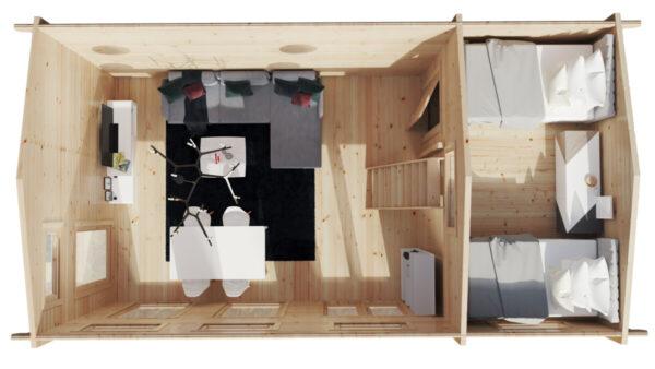 Hirsimökki Sweden B XL nukkumaparvella / 7 x 4 m / 35 m2 / 70 mm hirsi